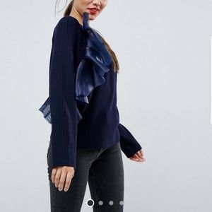 Asos sweater with ruffle detail
